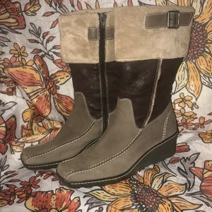 Nine West leather and fleece boots